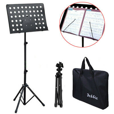 Folding Lectern Music Book Sheet Stand Portable Presentation Podium Black Metal