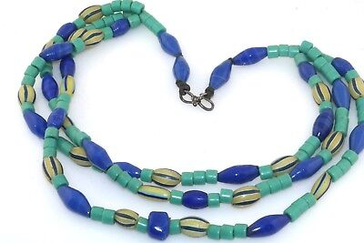 Really Unique Vintage Indian Glass & Turquoise Trade Bead Triple Strand Necklace