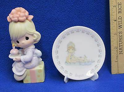 Precious Moments Figurine Wishing You The Sweetest Birthday & Mini Plate August