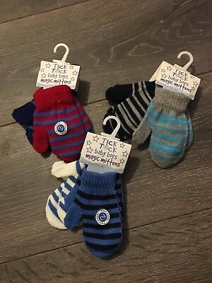 infants babies boys girls MAGIC mitts mittens stripes 1-5 yrs - 2prs