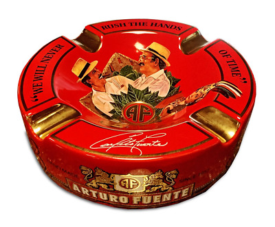 """Limited Edition Large 8.75"""" Arturo Fuente Porcelain Cigar Ashtray Red"""