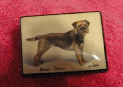 Border Terrier Small Rectangular Russian Lacquer Trinket Box LAST ONE!