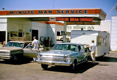 "5""x7"" UNION 76 SERVICE GAS STATION MINUTE MAN PHOTO mid 1960's 64 CHEVY MALIBU"
