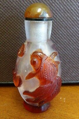 Vintage Chinese Deeply Carved Fish Peking Glass Snuff Bottle