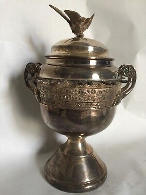 Antique Victorian Silver plate Spooner or Sugar Bowl, with Bird Finial Lid