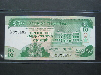 Mauritius 10 Rupees 1984 P35 Unc #k Island World Currency Banknote Paper Money