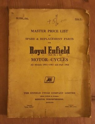 Royal Enfield 1951-61 & part 1962 Master Price List of Spare Parts UNILLUSTRATED