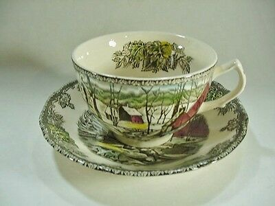 Set of 6 Cups & Saucers Johnson Brothers Friendly Village - Ice House Pattern