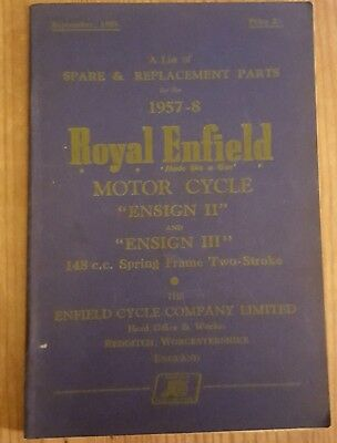 A List of Spare & Replacement Parts for the 1957-8 Royal Enfield Motor Cycle