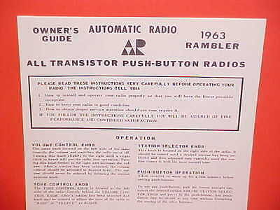 1963 Rambler Classic Six V8 Ambassador Wagon Automatic Am Radio Owners Manual 63