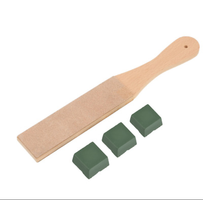 Wooden Double Sided Leather Paddle Strop Sharpening Polishing Compounds Wax Tool