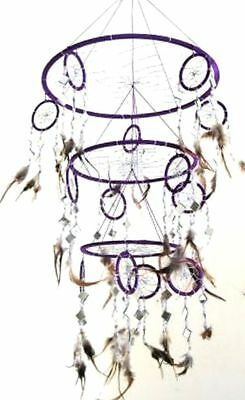PURPLE Dream Catcher Feather and Glass DreamCatcher Native American Decor - XL
