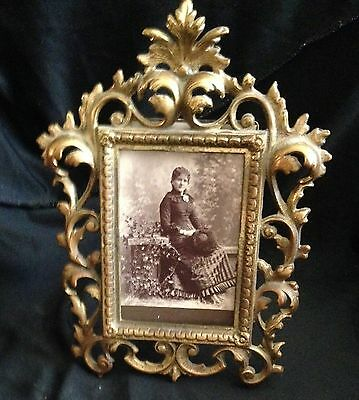 Antique Victorian Gilded Brass Picture Frame Old Photo Of The Lady