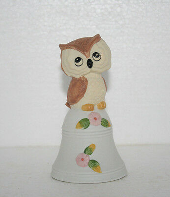 Vintage Hand Painted Bisque Porcelain Baby Hoot Owl With Flowers Bell Figurine