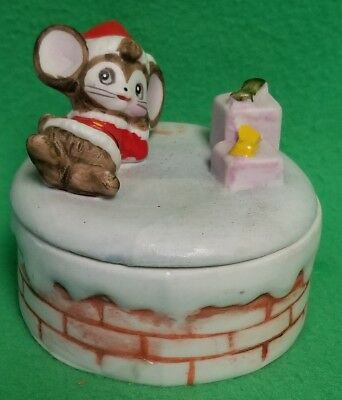 Homco Christmas Mouse Trinket Box # 8901 - VGC