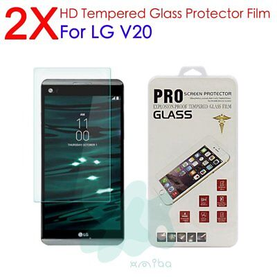 2Pcs 9H+ Real Premium Tempered Glass Film Screen Protector For LG V20