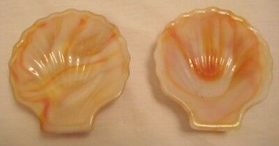 Old Pair Akro Agate Miniature Seashell Trinket Scallop Dishes
