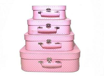 NEW Suitcase Set of 4 - Pink Polkadot - Room Decor - Toy Storage Carry Case