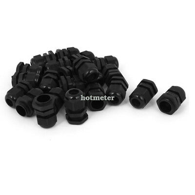 22 Pcs PG11 Waterproof Wire Cable Glands Clamp Black Plastic Connector 26 x 32mm