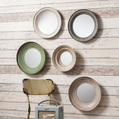 SET 5 Industrial Distressed Round Reclaimed Metal Wall Mirrors Vintage Style NEW
