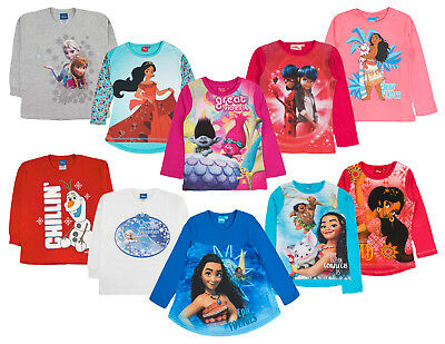 Girls Long Sleeve Disney Character T Shirt Top Various Kids Gift Size