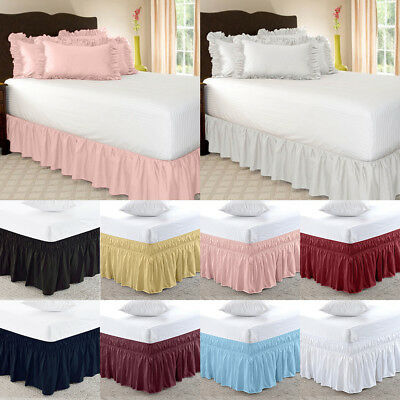Elastic Bed Skirts Ruffle Valance Drop Wrap Around Solid Color Single/Queen/King