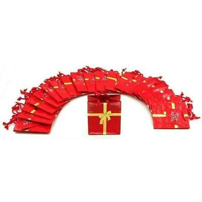"""20 Red with Gold Bow Ribbon Jewelry Shopping Gift Bags 3"""""""
