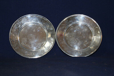 Antique R Wallace & Sons Sterling Silver Plates Monogramed HJJ 138 grams 5 1/2""