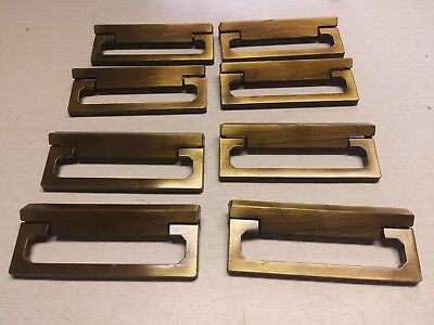 "8 Vintage Antiqued Metal Dresser Drawer Pulls Cabinet Door Retro Mid MOD 2"" #L"
