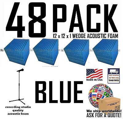 48 pack BLUE Acoustic Wedge Studio Soundproofing Foam Wall Tiles 12x12x1