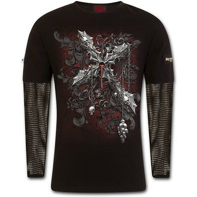 SPIRAL CROSS OF DARKNESS - MESH SLEEVE ZIP SHOULDER LONG SLEEVE T Shirt/Skull
