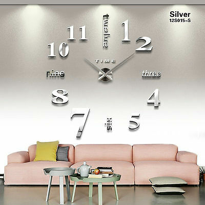 3D Mirror Wall Clock Home Art Decoration Surface DIY Sticker Big Watch Wallpaper