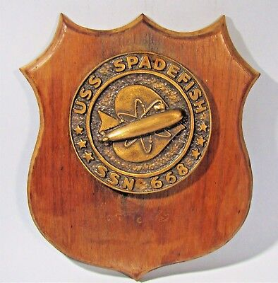 Uss Spadefish Ssn-668 Vintage Bronze Ship's Crest Wall Plaque Nuclear Submarine