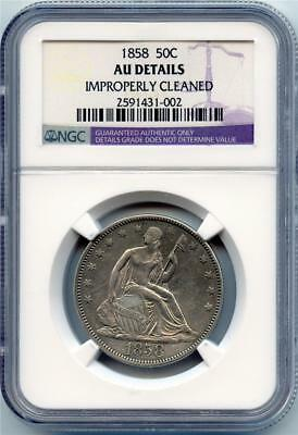 1858 50C Seated Liberty Half Dollar NGC Graded AU Details Improperly Cleaned