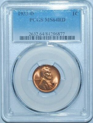 1933 D MS64RD Red Lincoln Cent