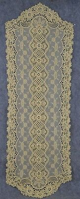 needle lace runner hand made white cherubs floral 11 x 52 in. antique original