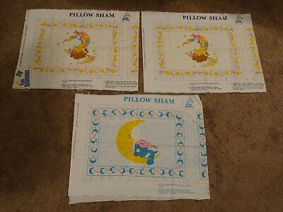 1980s Care Bears Uncut Pillow Sham Panels Funshine Bear & Bedtime Bear