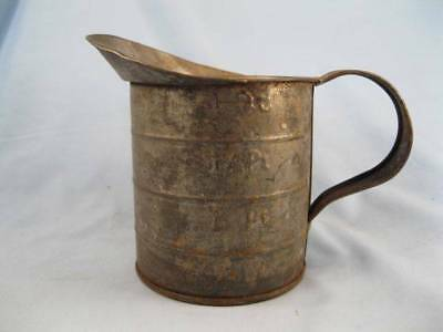 Antique Tin Measure Tool Scoop Flour Country Primitive Holds 1 Quart Unmarked O)