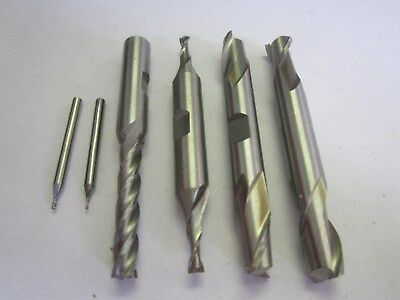 "Assorted Lot Of 6 HSS RH Square End Mills 2-4 Flute .028"" - 3/8"" NEW"