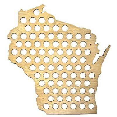 Bottles & Bottling All 50 States Beer Cap Map Wisconsin WI Glossy Wood