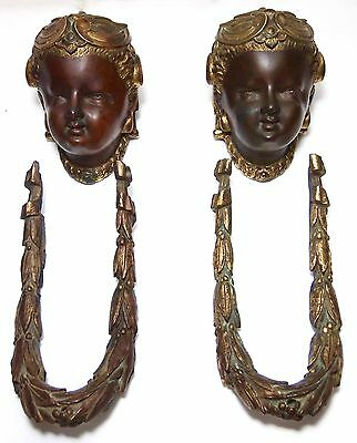 2 VERY RARE Old Victorian Gilt Bronze Angel Cherub Face Bust Laurel Door Knocker