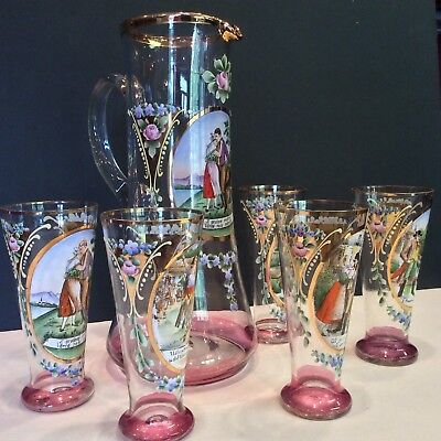 Set Antique Tall Bohemian Czech Enamel Blown Art Glass Pitcher 5 Beakers Goblets