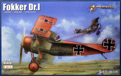 Fokker Dr.I German Fighter Jagdflugzeug 1:24 Model Kit Bausatz Merit 62403