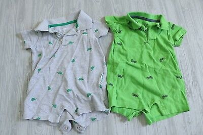 Carters Baby Boy Lot of 2 Collard Short Sleeve Rompers Size 3 Months