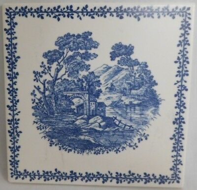 "Richard Ginori Tile Made In Italy Antique Blue And White 6"" X 6"" Euc"