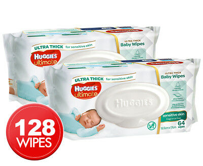 2 x Huggies Ultimate Sensitive Skin Baby Wipes 64pk