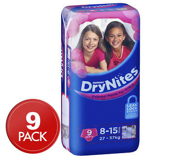 Huggies DryNites Pyjama Pants For Girls 8-15 Years 27-57kg 9pk