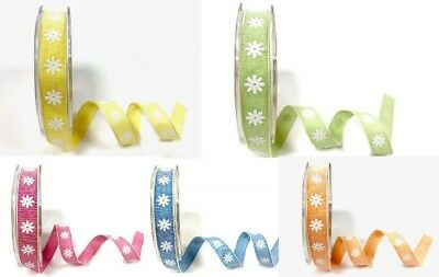 Bertie's Bows 15mm Daisy Print Ribbon - sold by the metre or on a 20m roll
