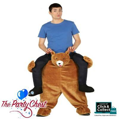 Adult Ride On Bear Costume Unisex Funny Animal Stag Fancy Dress Outfit New