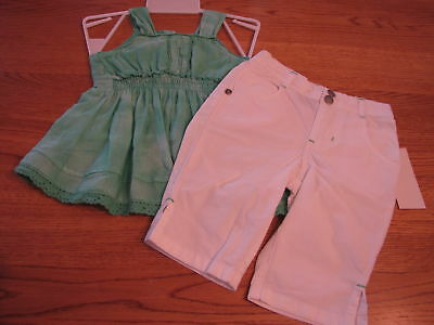 Calvin Klein CK infant toddler baby girls 12M 12 MOS shirt pants 2 pc NWT*^